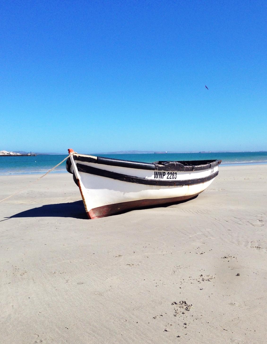Boat on the Langebaan Beach shore